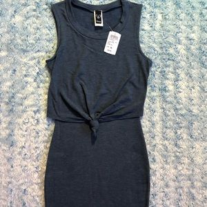 Navy Dress with small knot tie